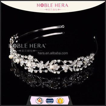 Luxury crystal rhinestone flower bridal headband tiara crown