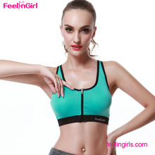 Green Zipper Paded Wholesale Sports Guangzhou Girls Hot Sexy Bra