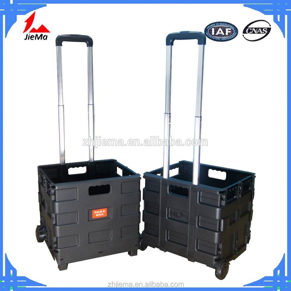 Foldable plastic PP shopping mobile food trolley carts folding push shopping cart