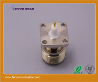 N female 17.5mm SQ flange connector with extended 5mm insulator and 3mm pin