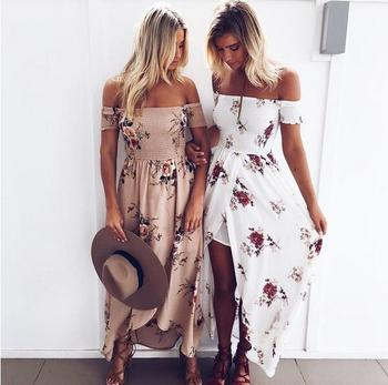 Hot sale sexy chiffon maxi slit off-shoulder woman dress
