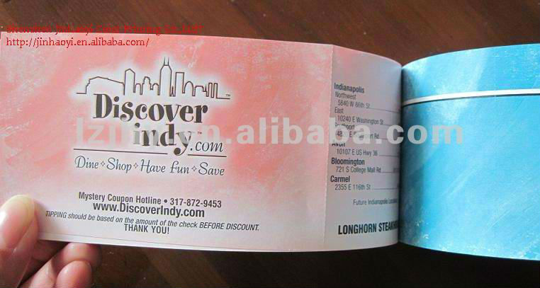 professional coupon book printing, perforation coupon printing