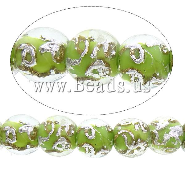 Free shipping!!!Gold Sand & Silver Foil Lampwork Beads,Top Selling, Round, gold sand and silver foil, green, 12-13mm