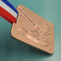 Hockey puck plated copper medals