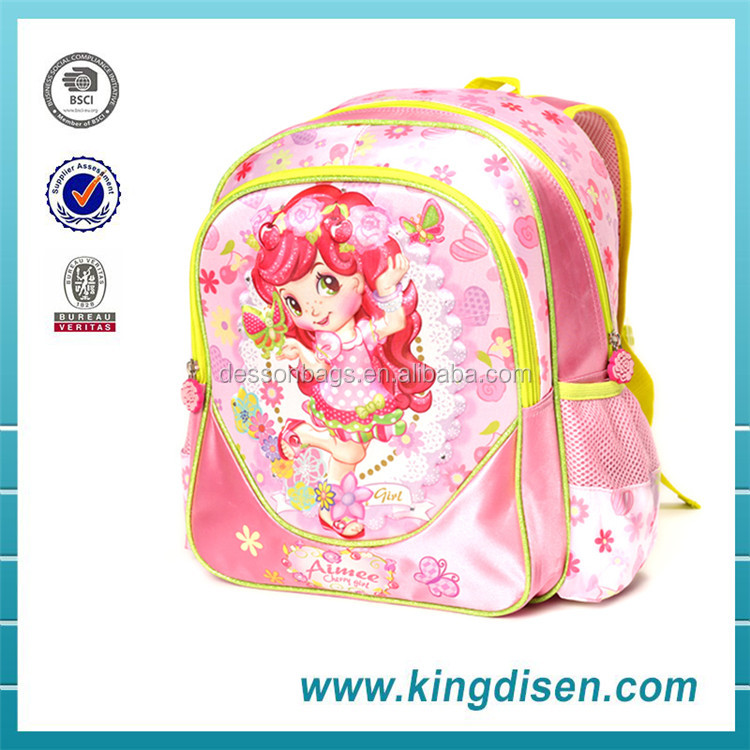 High class name brand student kids school bag with wheels