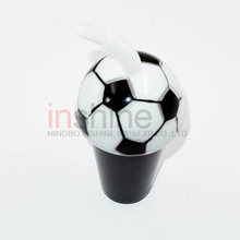 Plastic ball shaped cup , sports ball shaped water cup with straw , plastic cup