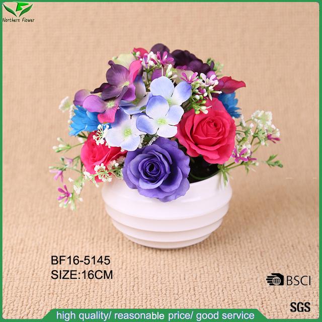 16 cm high imitation artificial Hydrangea flower and artificial rose flower arrangement in pot