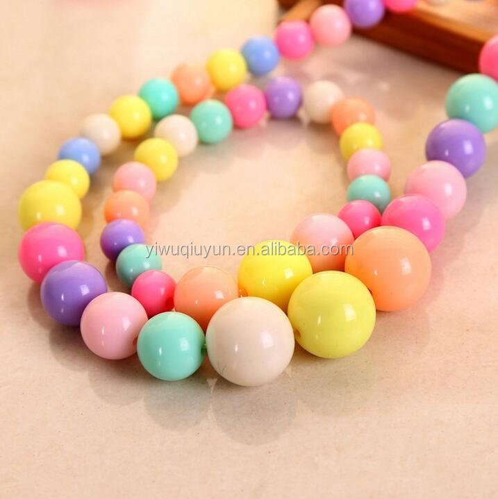 Multicolor DIY Children Acrylic Plastic Round Bead Necklace Bracelet Jewelry Set