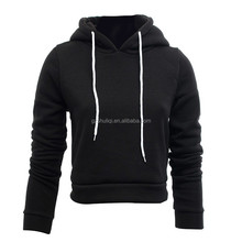 custom women cropped top hoodie wholesale women plain cotton hoodie sweatshirts