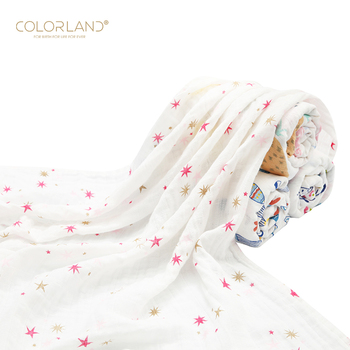 COLORLAND bamboo organic cotton blanket set baby muslin swaddle blanket