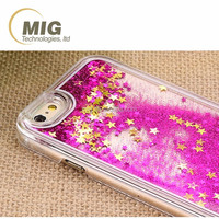 Liquid glitte flow Cell phone case For samsung galaxy s6 S7 S7 egde Mobile phone cover Transparent cover for iphone 7 5 6 6 plus