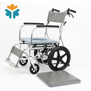 Multi-functional Transport Folding Manual Wheelchair Commode Wheelchair with Footrest