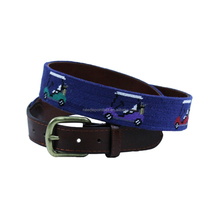 Fan Men Needlepoint Belts for Rainbow Golf Carts in Classic Navy