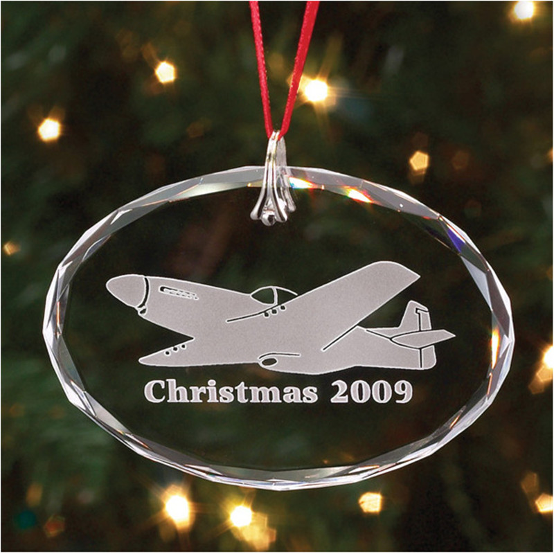Hot Selling Clear Crystal Glass Oval Christmas Hanging Decoration For Christmas Tree Ornament