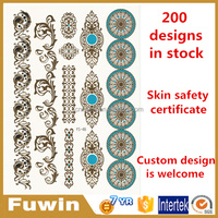 Samples free 2016 colorful Temporary waterproof Custom Gold metallic flash tattoo