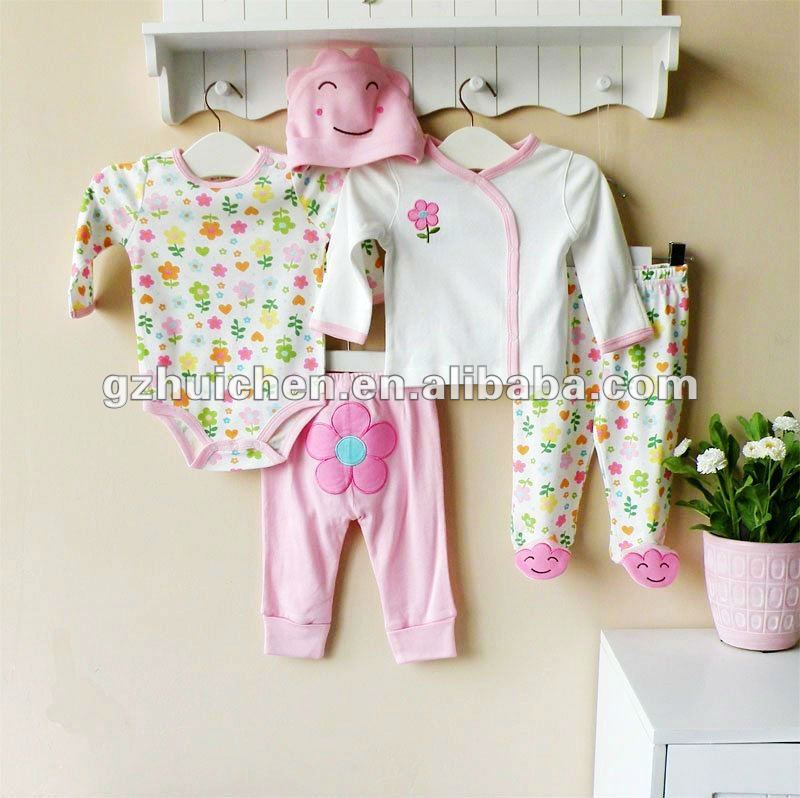 mom and bab 2012 summer baby wear 100% cotton newborn suit 5in1 gift box