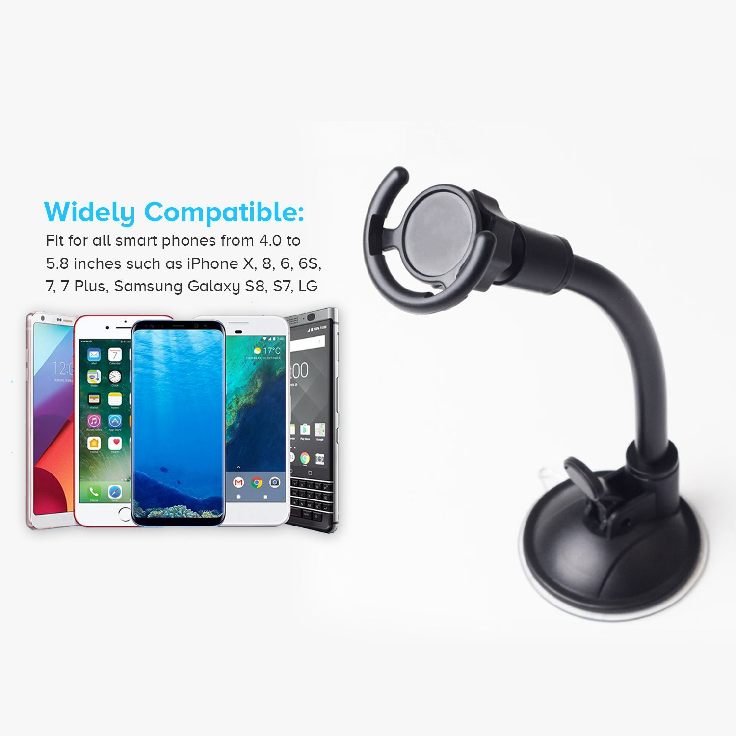 Cell Phone Holder Flexible Arm Adjustable Long Neck Windscreen Mobile Phone Stand Pop Car Mount For Pop Phone Holder