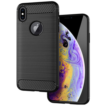 carbon fiber brushed tpu case for iPhone XS back cover