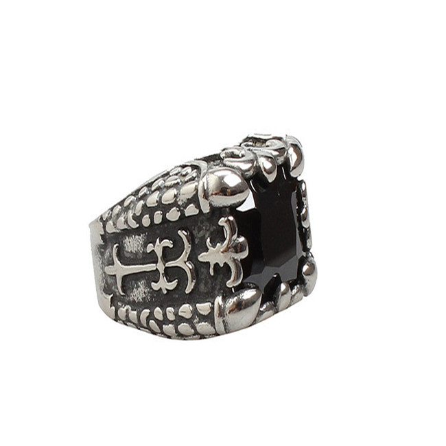 Foreign trade jewelry wholesale, ebay sell like hot cakes, fashion crow black stones titanium steel ring YSS759