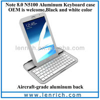 LBK526 Ultrathin 8mm Wireless Bluetooth Keyboard Case Stand for Samsung Galaxy Note 8.0 8 inch Tablet GT-N5100 GT-N5110 Silver