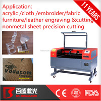 Baisheng co2 rubber laser cutting machine with rotary