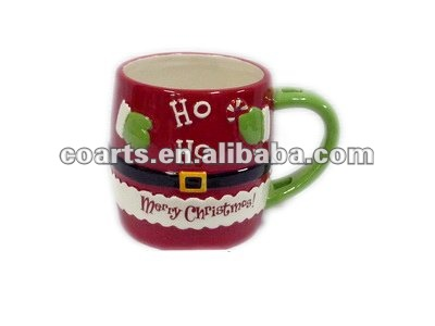 features exquisite hand ceramic santa mug with pure manual coloured drawing or pattern
