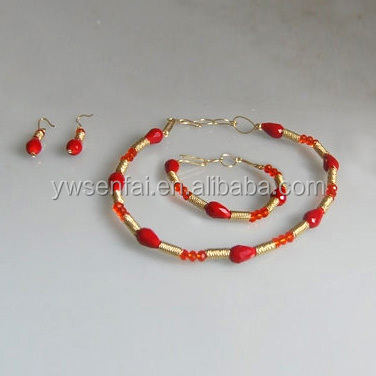 2016 Hot sale wholesale fashion jewelry gold plating red coral africa beads wedding set
