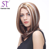 Brown Mix Blonde Medium Hairstyle S German Synthetic Hair Highlight Wigs 2016
