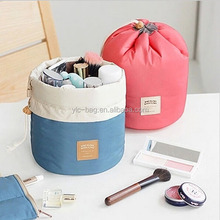 Barrel Shaped Travel Cosmetic Bag Nylon Wash Bags Makeup Organizer