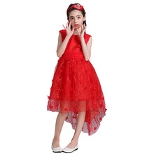 One Piece Dress Pattern Kids Satin Mermaid Wedding Dress Girls Lace Gown WGL1703