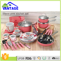59 pcs cooking frypan and saucepan non-stick ceramic cookware with stainless steel knob