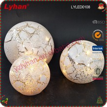 glass home decorative large size LED glass marble mercury glass ball
