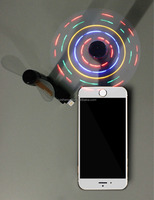 New products Ideas Mini Light Fan for Phone with Dispaly Led Flashing Colorful Light Flexible Rotating Mini Led Fan for Iphone