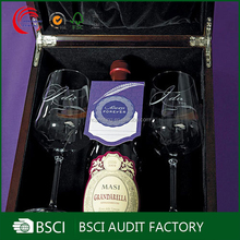 Top-end wooden boxes for 2 wine glasses as gift