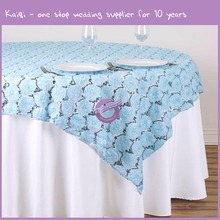 MX2817E North America light blue rental embroided wedding party rosette table cloth