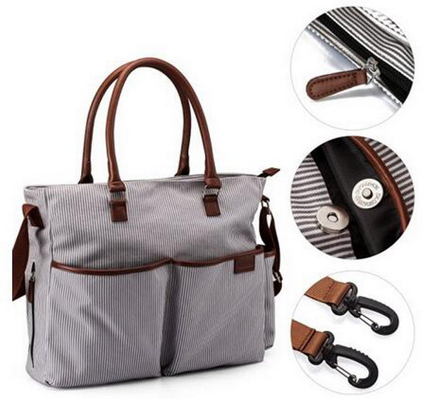 Fancy Grey Stripe Canvas Diaper Bag with Bottle Bag