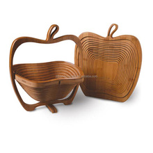 apple shape bamboo folding fruit baskets wholesale