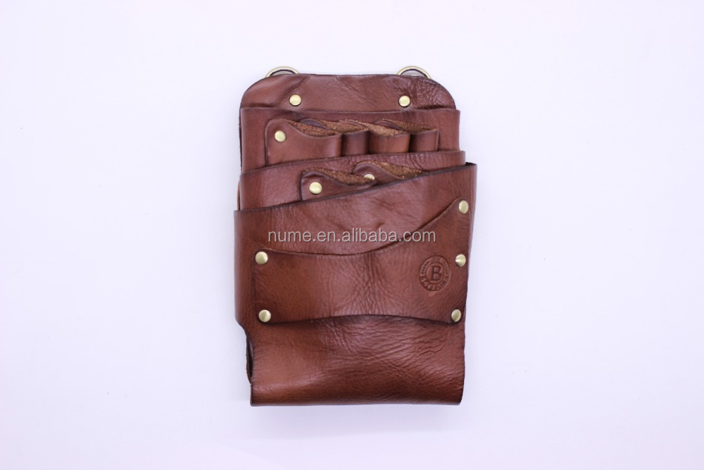 hair salon scissor bag real leather hairdressing tool belt bag with waist shoulder belt