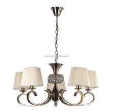 Five arms chandelier fabric shade pendant lamp ceiling with chain