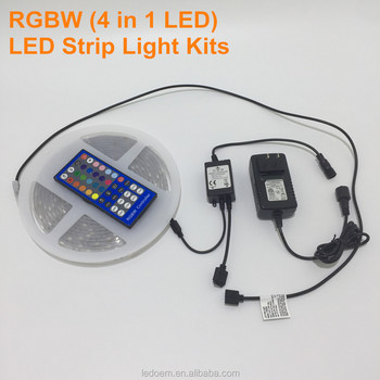 5M RGBW LED Strip Light Kits 150LEDs with 40key IR controller 12V 3A power adaptor