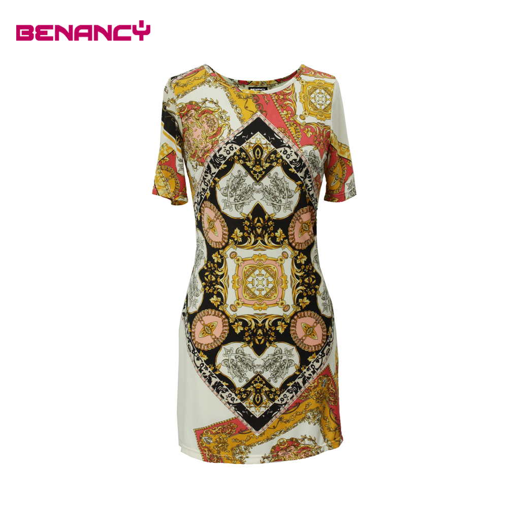 Summer Dress Lady Tile Print Baroque Midi Dress for Fat Women