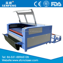automatic feeding cloths textiles labels laser cutting machine