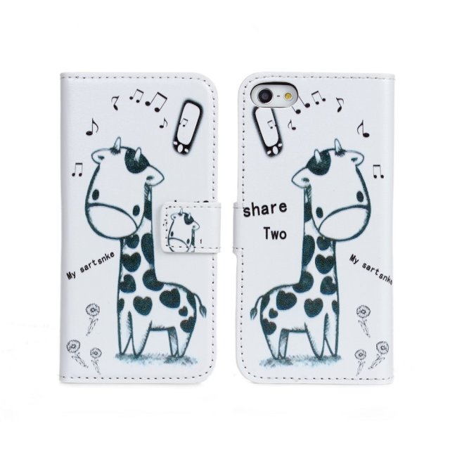 New stylish giraffe printed wallet flip pouch leather for iphone 5 5s case