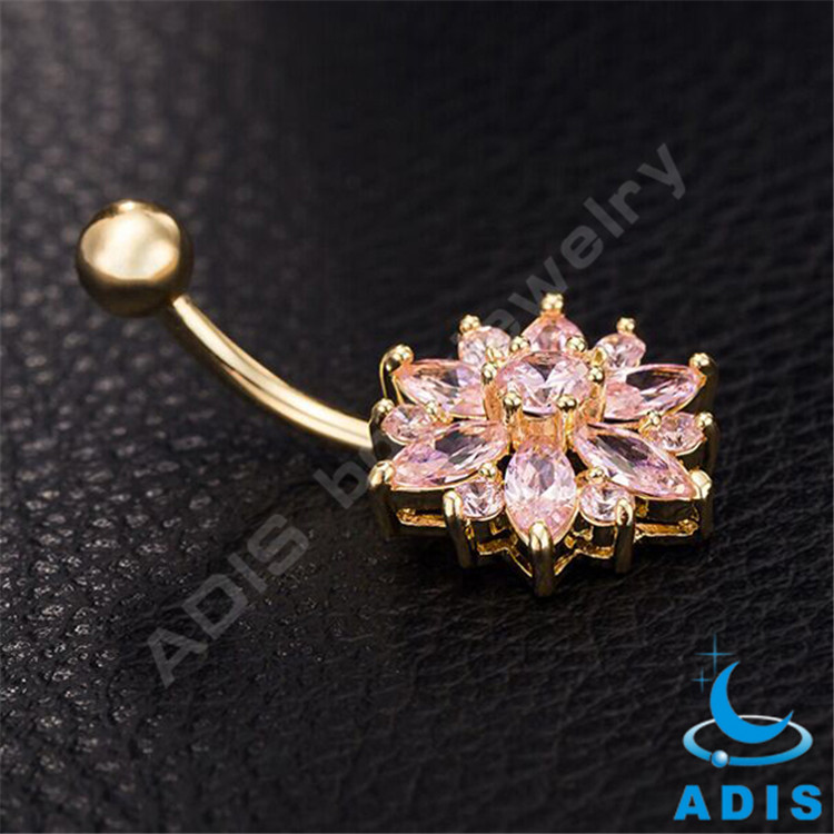 Stainless steel zircon flower belly button rings
