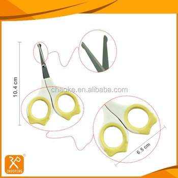 Professional safety plastic handle baby nail scissors
