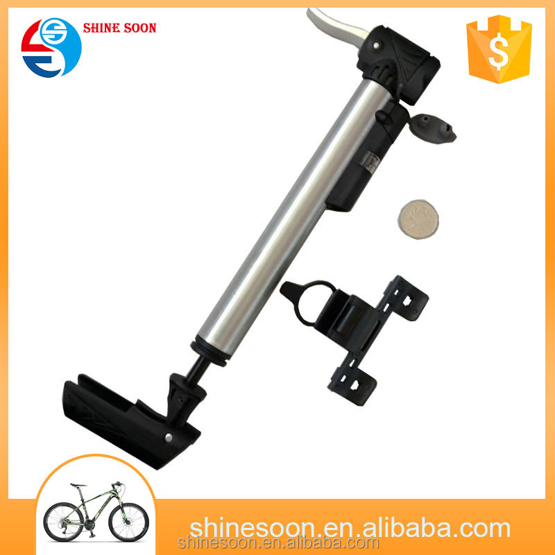 Schrader & Presta Aluminum mini air bicycle pump with gauge for bike