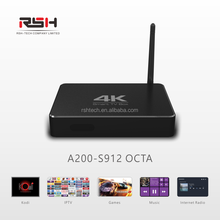 Powerful Octa core smart tv box with Amlogic S912 chipset 3GB RAM 16GB ROM android 6.0 OS ,aluminum housing with antenna