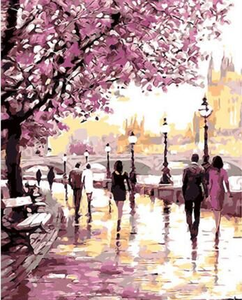 Cherry Blossoms Road Diy Oil Painting By Numbers Kits Wall Art Picture Home Decor Acrylic Paint On Canvas For Artwork