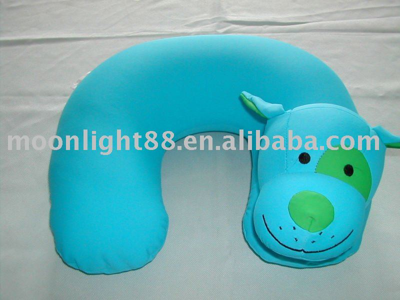 2014 Microbeads animal head shaped blue color travel pillow