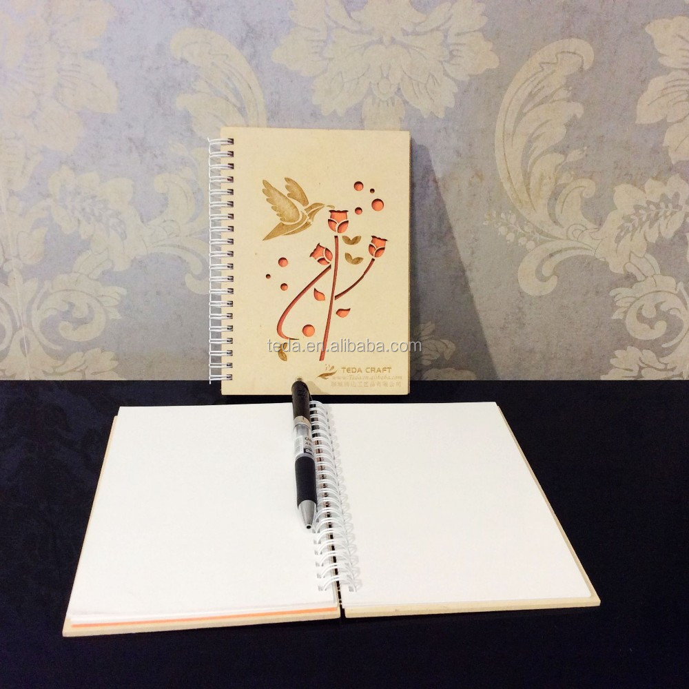 Elegant design wooden cover personalized notebook